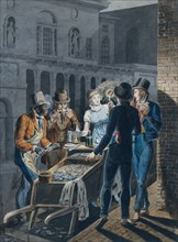 Nightlife in Philadelphia?an Oyster Barrow in front of the Chestnut Street Theater, 1811-ca. 1813.