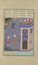 Rudaba Makes a Ladder of Her Tresses, Folio 72v from the Shahnama (Book of Kings) of Shah Tahmasp, ca. 1525.