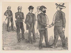 Two men shaking hands in the foreground and officers watching them in the background, ca. 1880-1910.