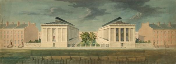 Unexecuted Design for Cross-Block Terrace Development (perspective), ca. 1831.