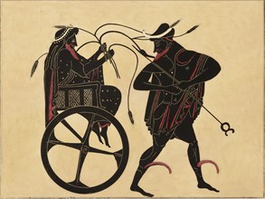 Print of the Decoration on a Greek Amphora, showing Triptolemus and Hermes, c1858. Triptolemus in his chariot, clutches stalks of wheat; Hermes stands before him, holding his caduceus.