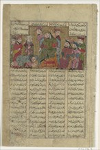 Zal delivers Sam's letter to Manuchihr, Folio from a Shahnama (Book of Kings) of Firdausi, ca. 1330-40.