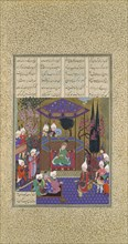 Zal Expounds the Mysteries of the Magi, Folio 87v from the Shahnama (Book of Kings) of Shah Tahmasp, ca. 1525.