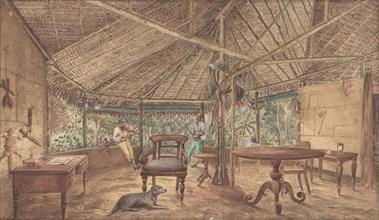 European Men in an African Jungle Lodge, 1886.