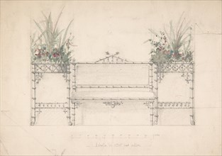 Design for Chinois Bench and Planters, 19th century.