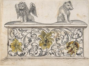 Ornamental design for front of a chest with winged lion and bear, 19th century.