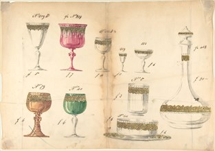 One of Twenty-Three Sheets of Drawings of Glassware (Mirrors, Chandeliers, Goblets, etc.), 1850-80.