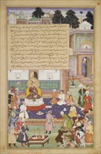 Sultan Bayazid before Timur, Folio from an Akbarnama (History of Akbar), ca. 1600.