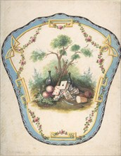 Design for a Firescreen with Picnic Scene and Playing Cards, Late 18th century.