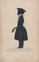 Silhouette of an unknown young boy, full length to the left, 1827-44.
