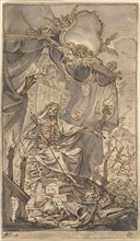 Death on a Canopied Throne (Design for a Title Page), late 17th century.