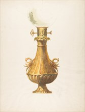 Design for a Gas Lamp with Gilt Base and Glass Globe, 19th century.