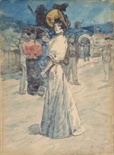 A Parisienne Outside the Moulin de la Galette, ca. 1880-1907.