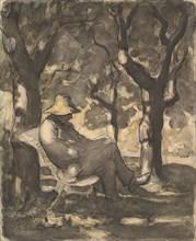 A Man Reading in a Garden (recto); Preliminary sketch for a Man Reading in a Garden (verso), ca. 1865.
