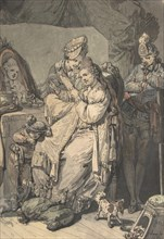 A Woman at her Toilet with a Maid, a Boy, a Dog and a Young Soldier; verso: A Sketch for a Similar Composition, 1770.
