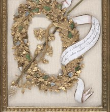 Greeting Card: wreath with acorns and oak leaves, a rod with grape vines and pearl finials; gouache, metallic paint, metallic foil, embossed and punched paper, and carved and painted mother of pearl o...