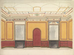 Design for a room with two fireplaces, ca. 1860.