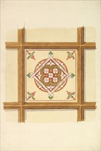 Design for a Coffered and Painted Ceiling in Rust and Olive Green, with a Quatrefoil Motif, 19th century.