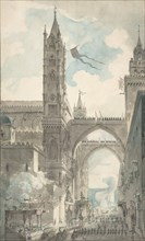 View of the Portal and Principal Entrance of the Cathedral of Palermo during the Festival of Sta. Rosalia, n.d..