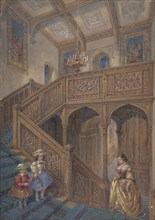 Design for a Jacobean-style Staircase (recto); Architectural Element Design (verso), ca. 1867.