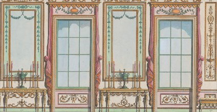 "Interior Ornamented Wall with Windows and Pier-Glasses, nos. 267-273 (""Designs for Various Ornaments,"" pl. 47), February 27, 1784."