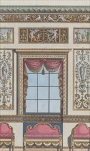 """Interior Ornamented Wall with Window and Furniture, nos. 411-424 (""""Designs for Various Ornaments,"""" pl. 64), February 15, 1792."""