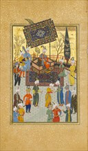 Khusrau Seated on his Throne, Folio 64 from a Khamsa (Quintet) of Nizami, A.H. 931/A.D. 1524-25.