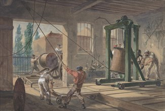 The Reels of Gutta-percha Covered Conducting Wire Conveyed into Tanks at the Works of the Telegraph Construction and Maintenance Company, at Greenwich, 1865-66.