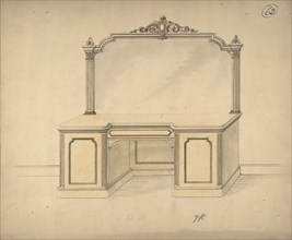 Design for a Desk with Mirror, 1841-84.