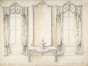 Design for Mirror, Table and Curtains, 1841-84.