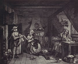 [photo-reproduction of Hogarth's print illustrating the Dunciad, Book I, line III], 1850s-60s.