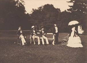 Groupe dans le parc du château de La Faloise, 1856.