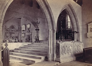 Monuments and Chancel Steps, Tenby Church, 1870s.