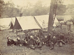 Group at Headquarters of the Army of the Potomac, Antietam, October 1862, 1862.