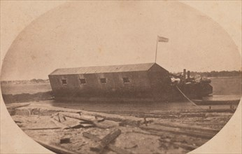 Hamilton's Floating Battery Moored at the End of Sullivan's Island the Night Before They Opened Fire upon Fort Sumter, April 1861. Attributed to Alma A. Pelot and Jesse H. Bolles.