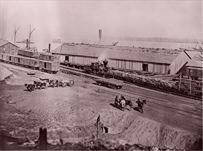 Terminus of U.S. Military Railroad, City Point, Virginia, 1861-65. Formerly attributed to Mathew B. Brady.