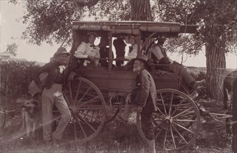 Group with Horse-Drawn Carriage, 1890s.