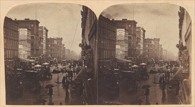 Broadway in the Rain, likely taken from 308 or 310 Broadway, New York City, ca. 1860s.