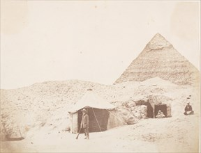 The Photographer before his Tent on the Site of the Pyramid of < Name not Found! > (Chephren), 1851.
