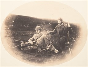 Ned and Colin Ross with Hunt Trophy, ca. 1857.