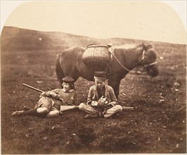 Charlie and Peel Ross with Horse after a Hunt, ca. 1856-59.