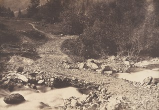 Pont de l'ardoise pris en revenant de la cascade des Parisiens, Luchon, 1853.