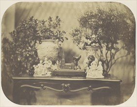 [Table Top Still Life with Model Cathedral and Small Sculptures], ca. 1856.