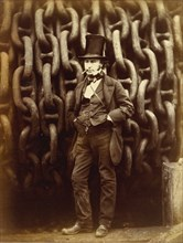 Isambard Kingdom Brunel Standing Before the Launching Chains of the Great Eastern, 1857, printed 1863-64.