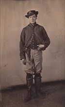 Union Cavalry Soldier with Pistol in Holster, 1861-65.