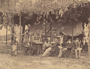 Chief Officer and Clerks of the Ambulance Department, 9th Army Corps, in Front of Petersburg, Virginia, August 1864.
