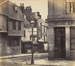 Street with Lamp Post and Wine Shop, 1850s.
