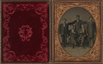"""Policeman Posing with Four """"Collared"""" Thugs, ca. 1875."""