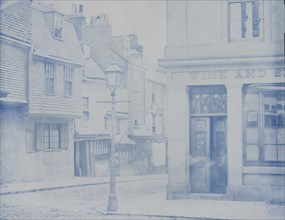 [Street with Lamp Post and Wine Shop], 1850s.