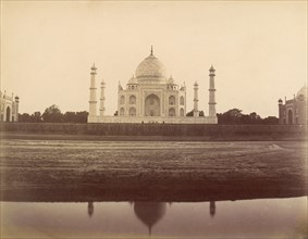 View of the Taj Mahal from the Jamuna, Agra, 1860s-70s.